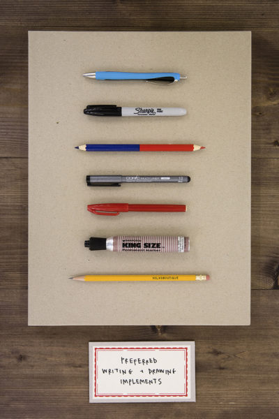 P!, Christine_Hill_Writing_Implements_web Christine Hill, Preferred Writing + Drawing Implements, Photo:  Verena Nagl