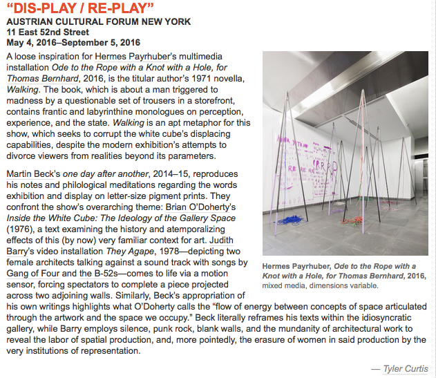 P!, DIS-PLAY:RE-PLAY_ ArtForum