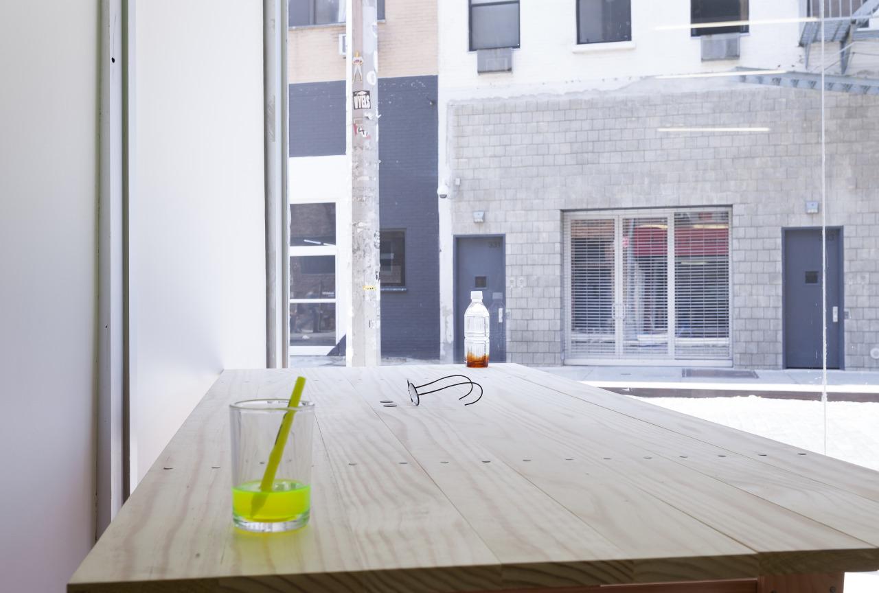 "P!, Exhibition view of ""Goldfish,"" featuring: Tania Pérez Córdova, ""Live Chat""; Sanela Jahić, ""Deregulated Vision""; Ryohei Usui, ""Oolong""; Enzo Mari/Josh Mattes, ""Tavolo Rettangolare"" Tania Pérez Córdova, Live Chat, 2012; Sanela Jahić, Deregulated Vision, 2013; Ryohei Usui, Oolong, 2014; Enzo Mari / Josh Mattes, Tavolo Rettangolare, 1974 / 2014"