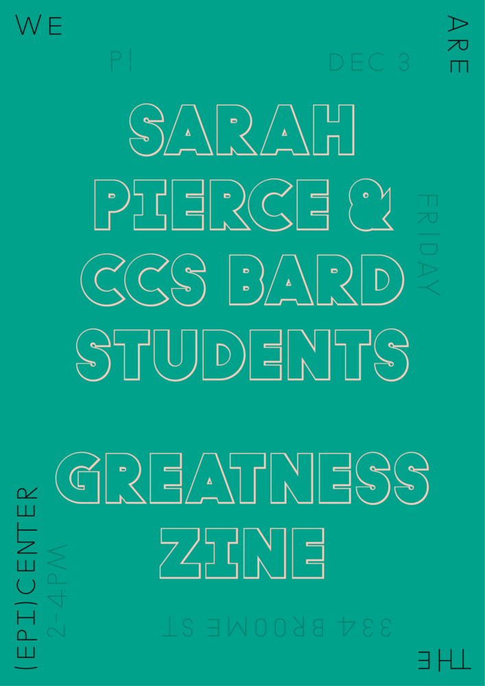 P!, Sarah Pierce Poster Designed by the London-based design practice Julia