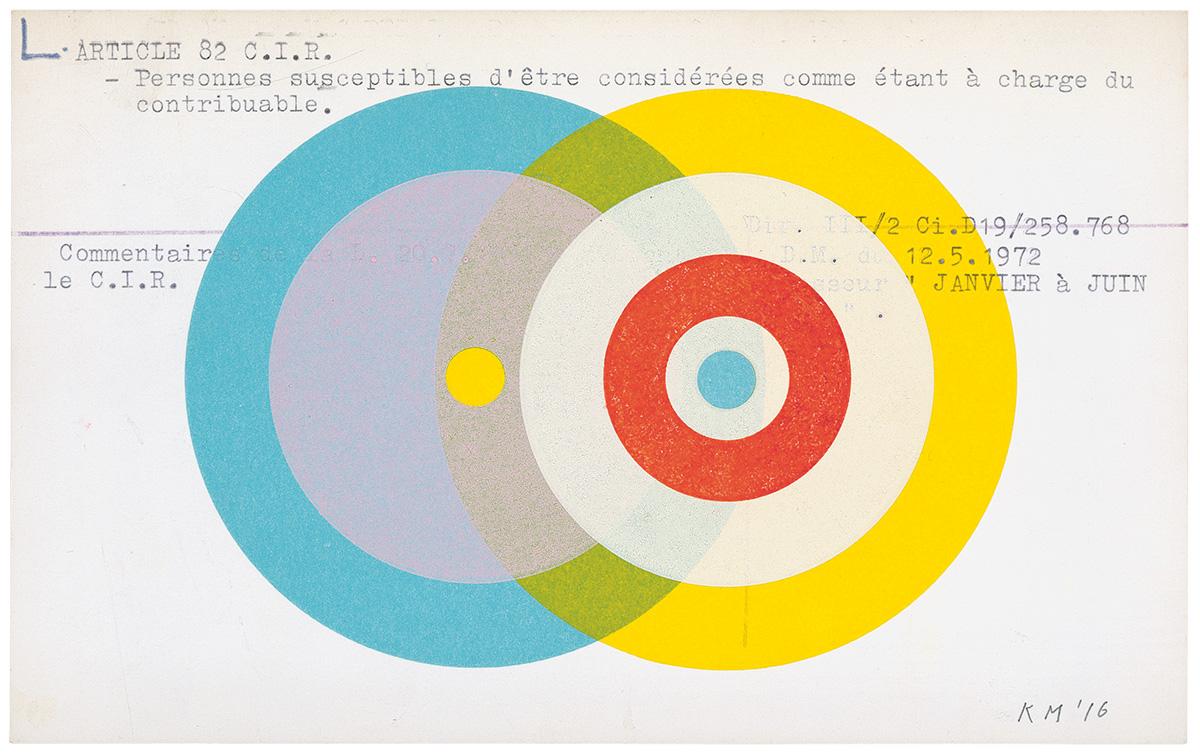 P!, SCAN_033_KM_med Karel Martens, Untitled, 2016, Letterpress monoprint on found card, 8 × 5 inches, Unique