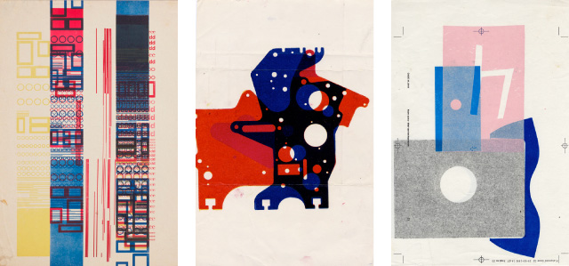 P!, martens_monoprints Karel Martens: Untitled, 1958, letterpress monoprint on paper; Untitled, 1963, letterpress monoprint on paper; Untitled, 1992, letterpress monoprint on photocopy